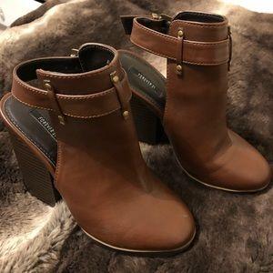 brown chunky heeled booties